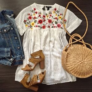 Embroidered Baby Doll Dress